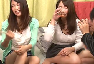親友→お酒の回った美女2人組を僕の部屋に案内《4人でビッチ♡な王様ゲーム》開始!!!