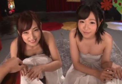 【桜井まほ 村上りおな】めっちゃ可愛い美少女2人と至福のローション3P。