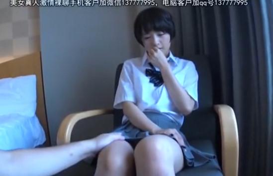 【素人】中年オヤジにハメ撮りされる激カワショートカット女子校生