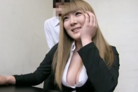 【仁科百華】スーツがはち切れ寸前!前髪パッツンの爆乳白ギャルのおっぱいプレイ!