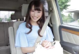 【三原ほのか】すらっとして色白美白♡おしとやかな最高級美女と車の中でエッチ!