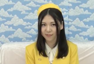 【素人】エレベーターガールの黒髪美女をナンパして制服着衣SEX!