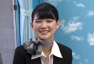 【白咲碧】制服姿で騎乗位素股してくれる美人なCAさん♡